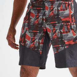 Pantalón corto chándal Cardio Fitness Domyos FST 500 hombre rojo estampado