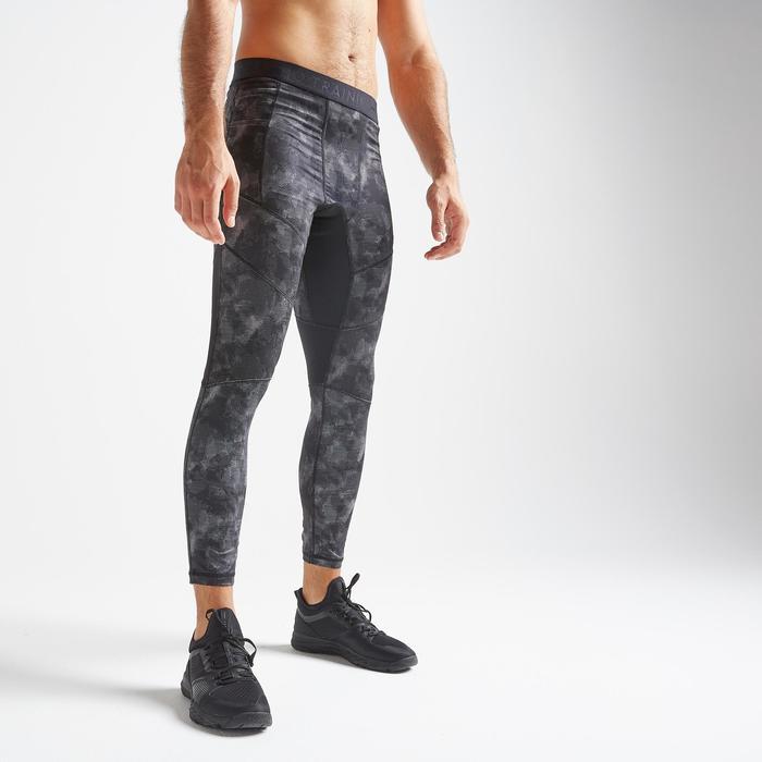 Legging voor cardiofitness heren 500 grijs met print