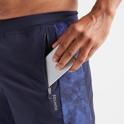 2-in-1 short voor cardiofitness heren 520 marineblauw/camoprint