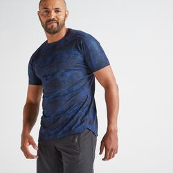 Camiseta manga corta Fitness Cardio Domyos FTS 500 hombre azul marino estampado