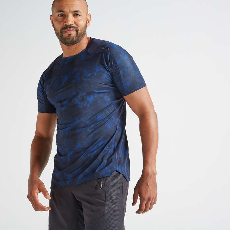 MAN FITNESS APPAREL Clothing - FTS 500 T-Shirt - Blue DOMYOS - Tops