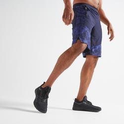 Short cardio fitness hombre FTS 520 2 en 1 azul marino AOP camuflaje