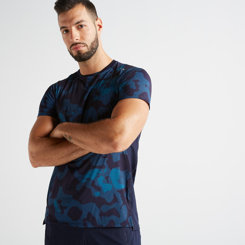 เสื้อยืดสำหรับออกกำลังกายแบบคาร์ดิโอรุ่น FTS 500 (สีน้ำเงินลายพราง)