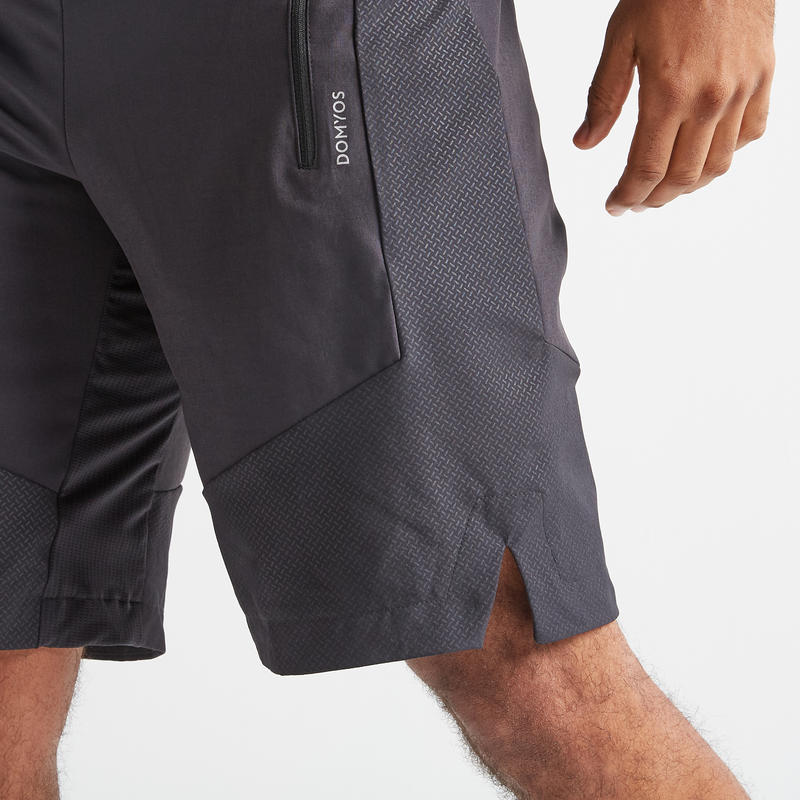 กางเกงขาสั้นสำหรับการออกกำลังกายแบบคาร์ดิโอรุ่น FST 500 (สีดำ Herringbone)