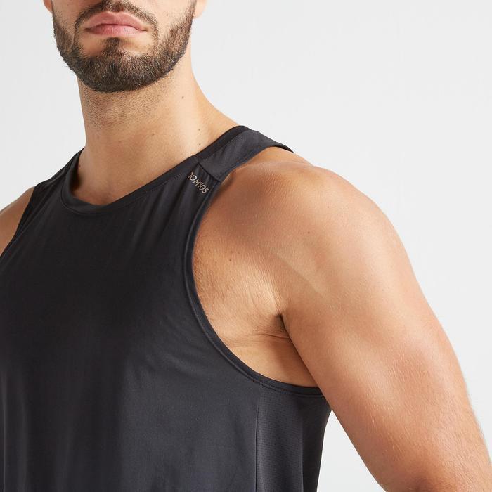 Mouwloos shirt voor cardiotraining heren FTA 500 zwart