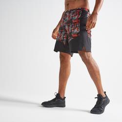 Sportbroekje fitness FST 500 voor heren, zwart/rood