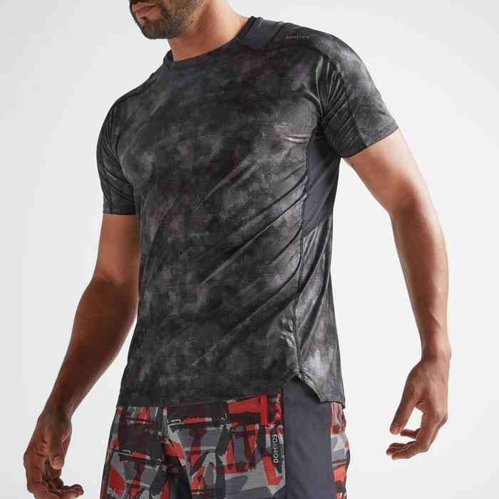 T-Shirt FTS 500 Fitness Cardio AOP Herren grau/schwarz