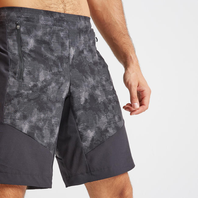 Men's Zip Pocket Regular Fitness Short - Grey/Black