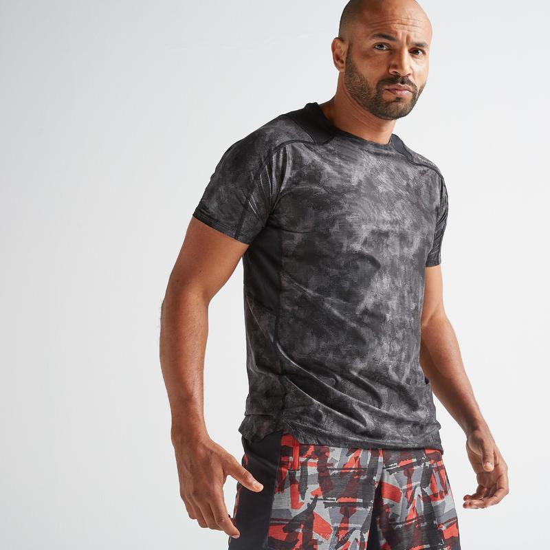 T-shirt entraînement cardio homme FTS 500 gris noir AOP.