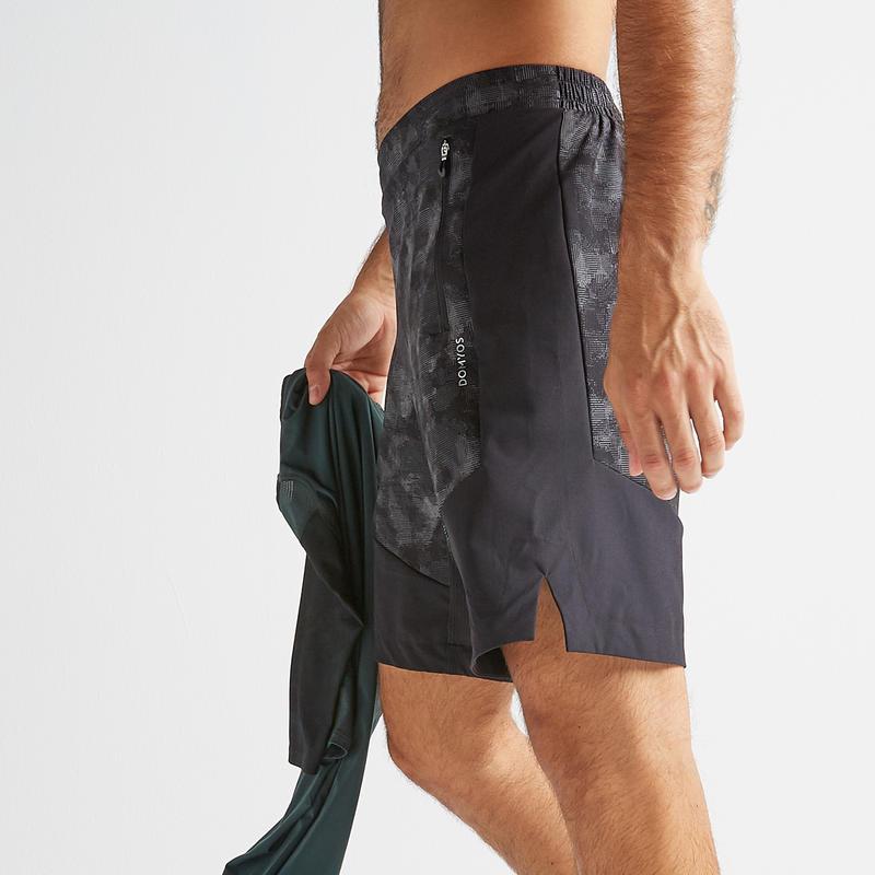 กางเกงขาสั้นเพื่อการออกกำลังกายแบบคาร์ดิโอรุ่น FST 500 (สีเทา/ดำ)