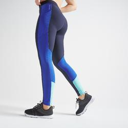 Legging voor cardiofitness dames 120 marineblauw colorblock