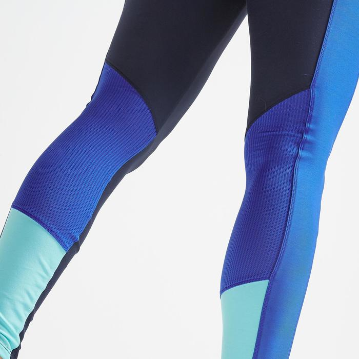 Legging fitness cardio training femme bleu marine color block 120