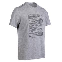 500 Regular-Fit Gentle Gym & Pilates T-Shirt - Grey/Blue Print