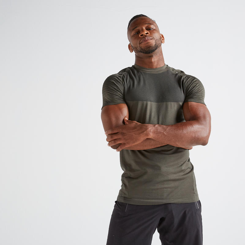 Men's Ultra-Light Odour Control Cardio Gym T-shirt - Khaki