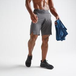 Pantalón Corto Chándal Cardio Fitness Domyos FST 900 hombre gris