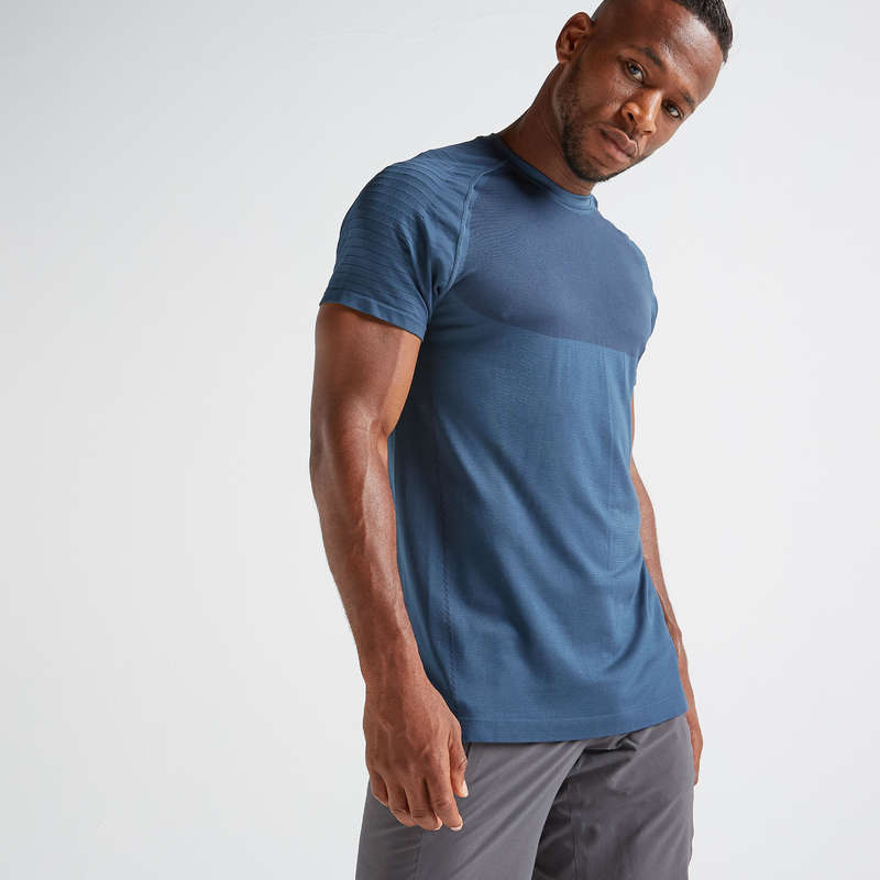 FITNESS CARDIO EXPERT MAN OUTFIT Fitness and Gym - FTS 900 T-Shirt - Blue DOMYOS - Fitness and Gym