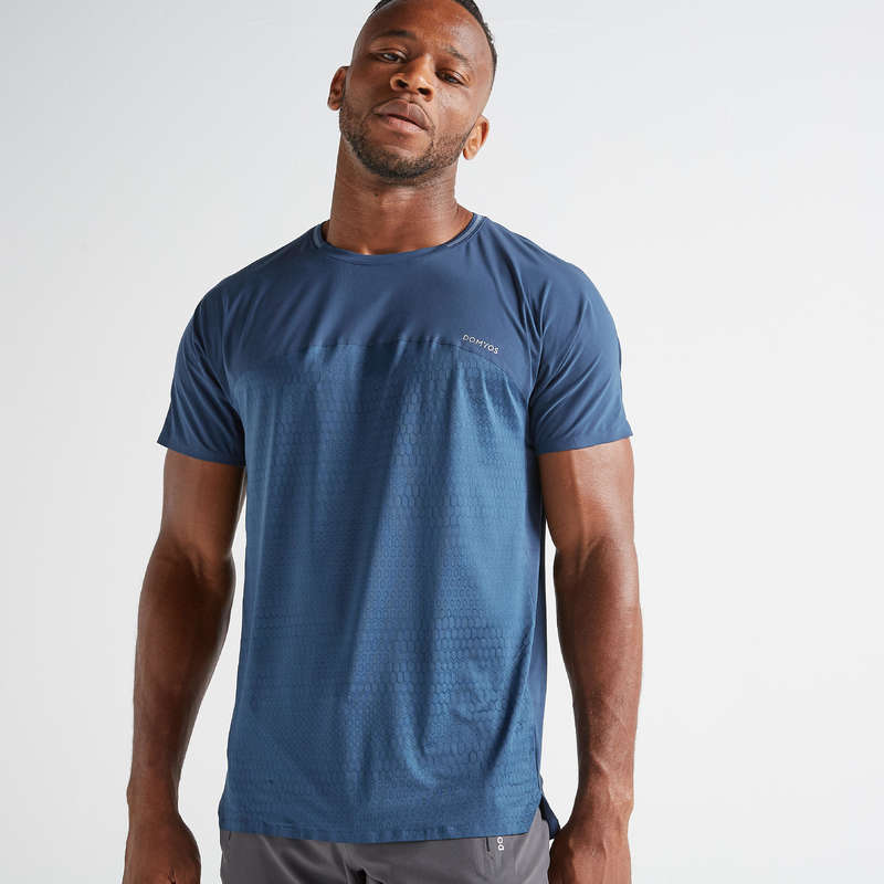 MAN FITNESS APPAREL Clothing - FTS 920 T-Shirt - Blue DOMYOS - Tops