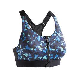 Women's Zip-Up Cardio Fitness Bra 900 - Print