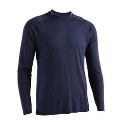 T-shirt met lange mouwen voor cardiofitness heren FTS 500 gemêleerd blauw