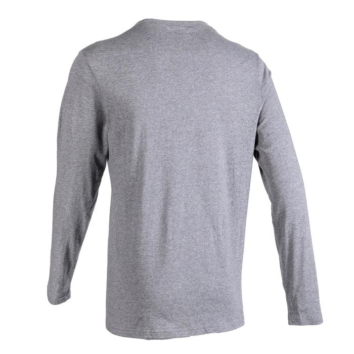Men's Long-Sleeved Pilates and Gentle Gym T-Shirt 100 - Grey