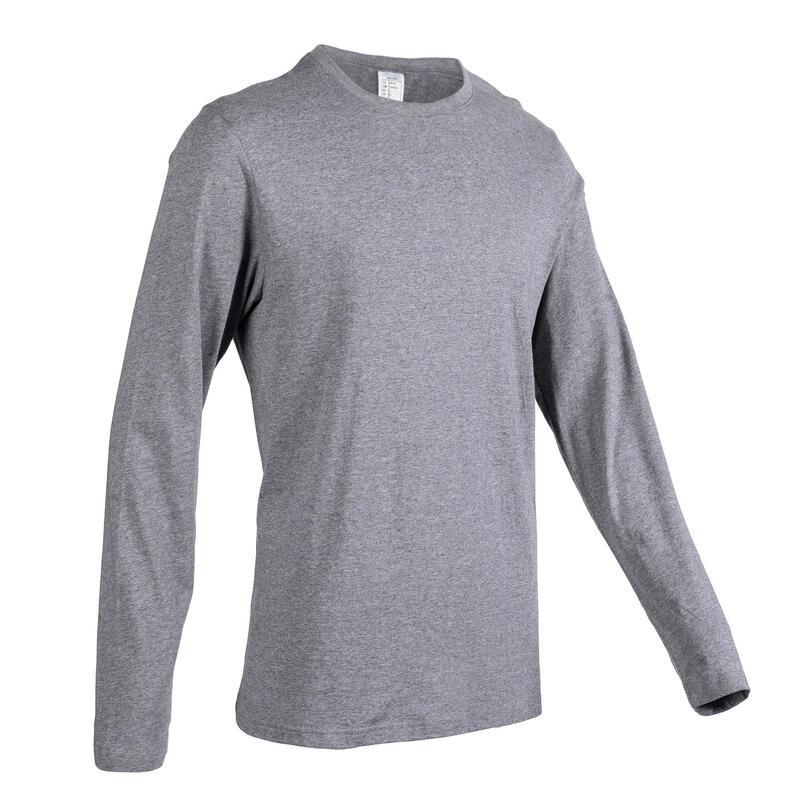 男款皮拉提斯與溫和健身長袖T恤100 - 灰色