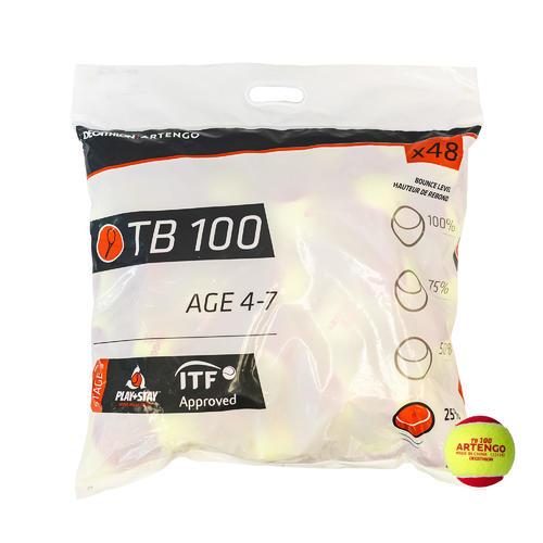 BALLE DE TENNIS TB100*48 ROUGE