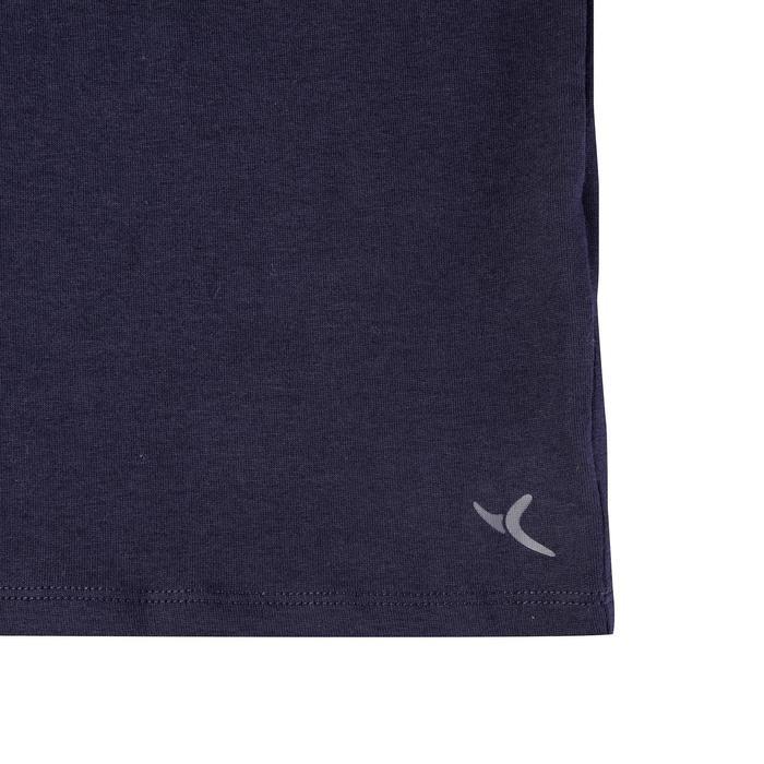 修身剪裁皮拉提斯與溫和健身T恤500 - 海軍藍