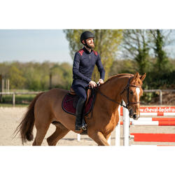 Warme polo voor paardrijden heren 500 WARM lange mouwen marineblauw/bordeaux