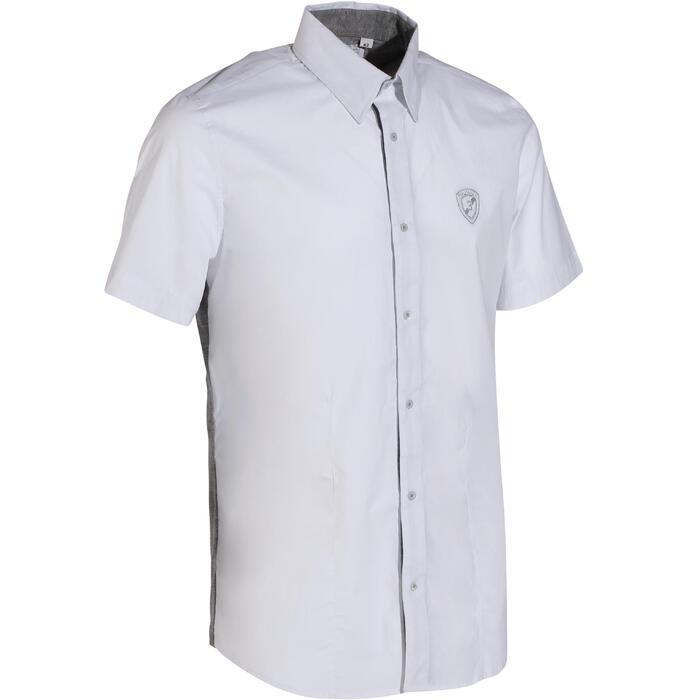 Chemise manches courtes Concours équitation homme bi-matière blanc et gris - 172681