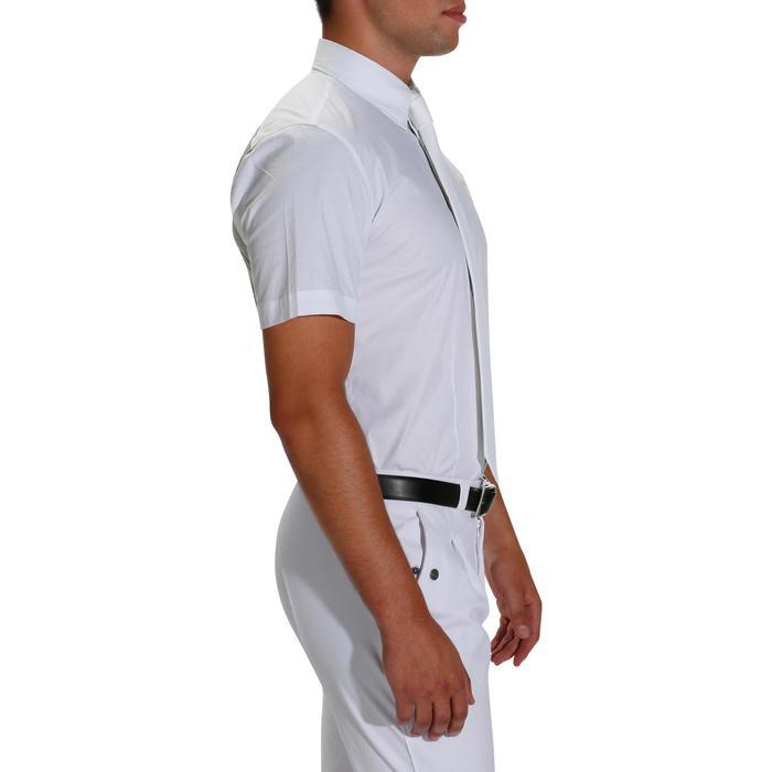Chemise de concours manches courtes équitation homme bi-matière blanc et gris