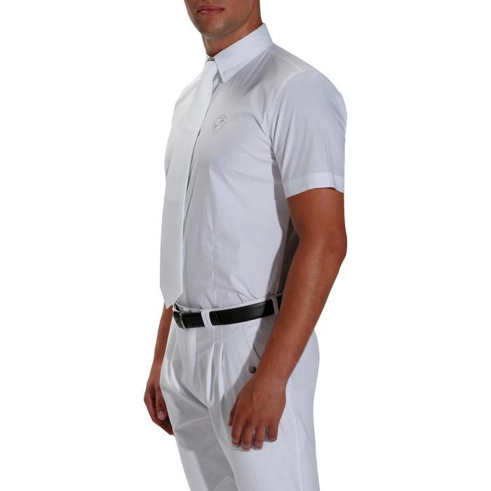 Chemise manches courtes Concours équitation homme bi-matière blanc et gris - 172683