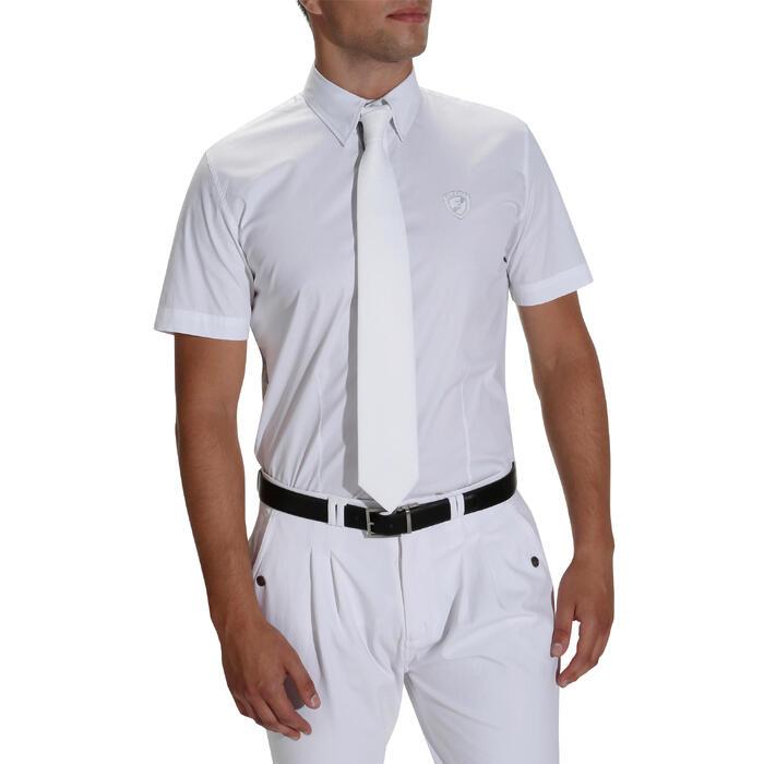 Chemise manches courtes Concours équitation homme bi-matière blanc et gris - 172684