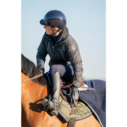 Warme waterdichte jas ruitersport dames Tosca donkergrijs/visgraat