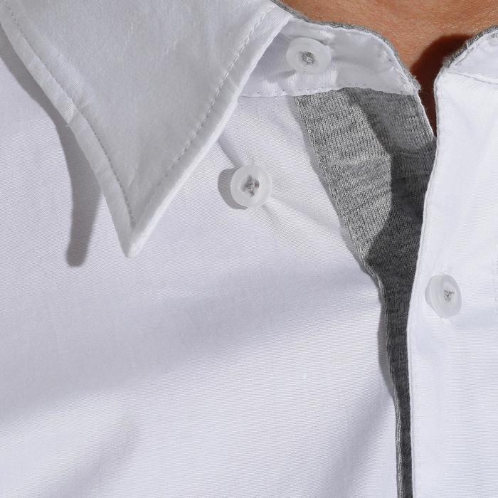 Camisa manga corta concurso equitación hombre de material doble blanca y gris