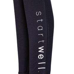女款修身剪裁皮拉提斯與溫和健身長褲500 - 灰色印花