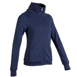 500 Women's High-Neck Pilates & Gentle Gym Jacket - Navy Blue