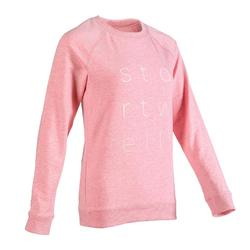 Women's Gentle Gym and Pilates Sweatshirt 500 - Mottled Pink Print