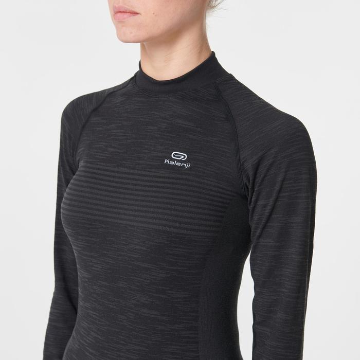 Hardloopshirt met lange mouwen voor dames Kiprun Skincare zwart