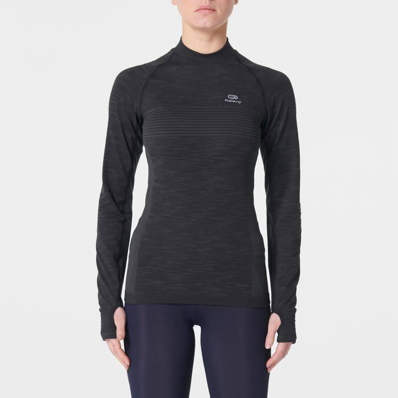 DÁMSKÉ BĚŽECKÉ HŘEJIVÉ OBLEČENÍ NA SILNIČNÍ BĚH Běh - BĚŽECKÉ TRIČKO SKINCARE KIPRUN - Běžecké oblečení