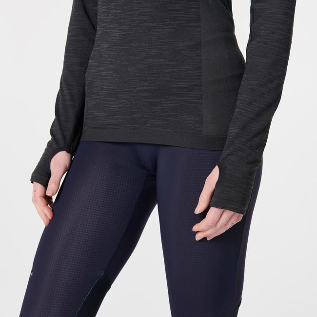 KIPRUN SKINCARE WOMEN'S LONG-SLEEVED RUNNING T-SHIRT - BLACK