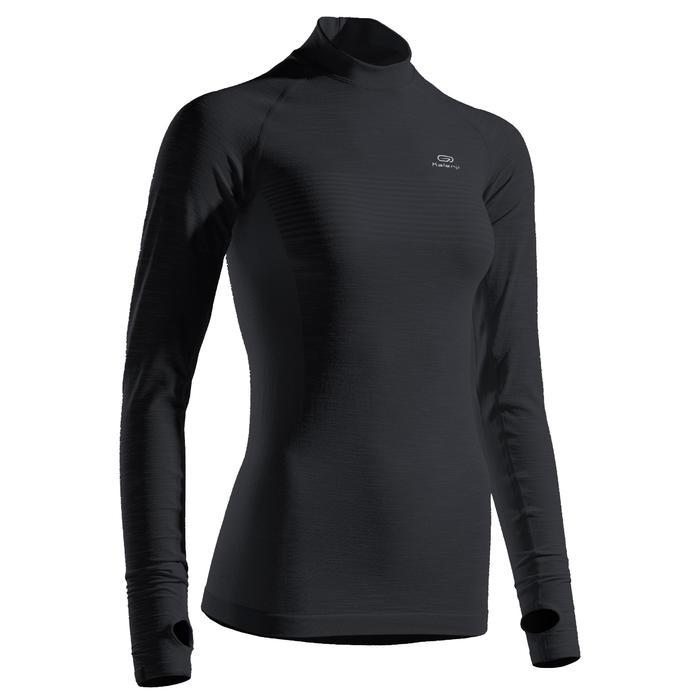 女款跑步長袖T恤KIPRUN SKINCARE - 黑色