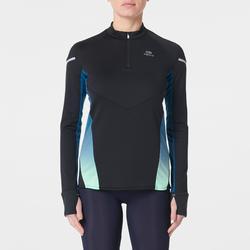 女款跑步運動長袖上衣KIPRUN WARM LIGHT黑色/藍綠色