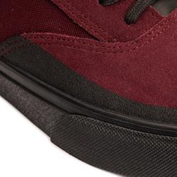 Chaussures basses de skateboard adulte VULCA 500 Bordeaux, semelle noire