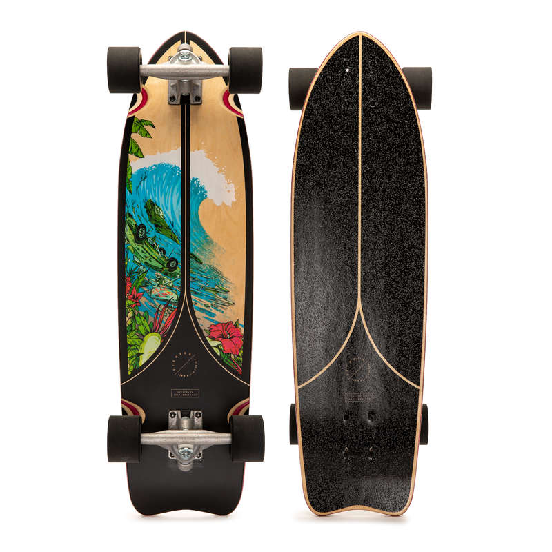 LONGBOARD AND CRUISER Skateboarding and Longboarding - Fish 500 LB - Black OXELO - Skateboarding and Longboarding
