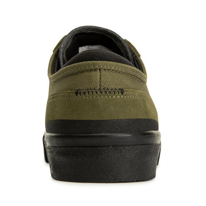 Chaussures basses de skateboard adulte VULCA 500 Kaki, semelle noire