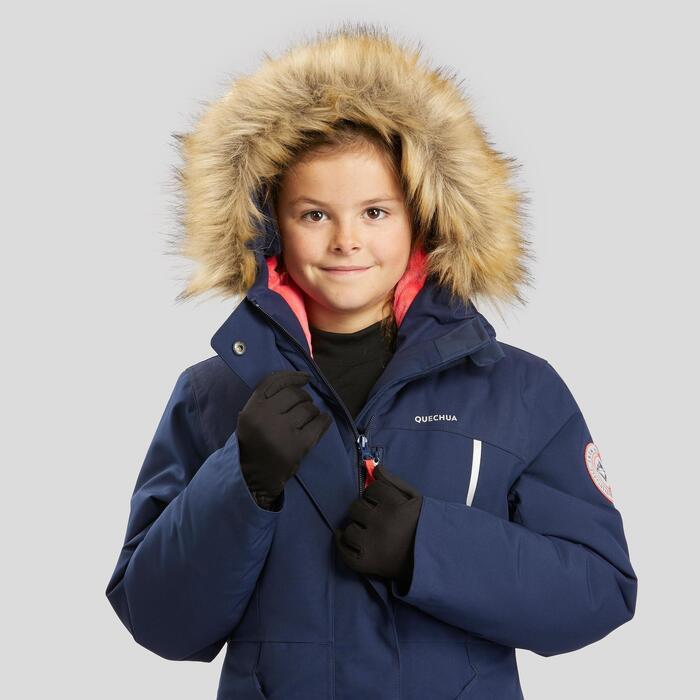 女童款極致保暖雪地健行外套SH500(7到15歲)-淺藍色。