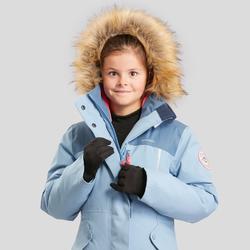 Warme waterdichte wandeljas voor meisjes SH500 U-Warm 7-15 jaar lichtblauw