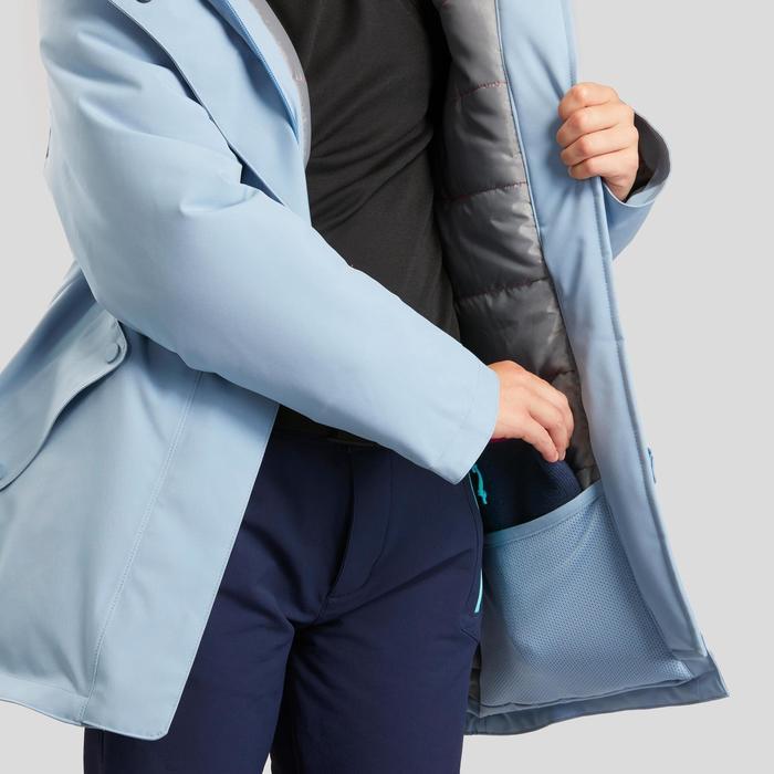 女童款7到15歲極致保暖雪地健行外套SH500-軍藍色。