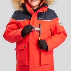 Winterjacke Winterwandern SH500 Ultra-warm Kinder Jungen 7–15 Jahre rot/schwarz