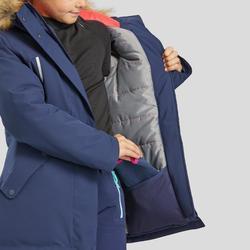 Warme waterdichte wandeljas voor meisjes SH500 U-Warm 7-15 jaar marineblauw